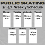 UPDATED Weekly  3/1-3/7 Public Skating