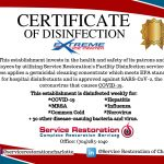XIC Certification of Disinfection